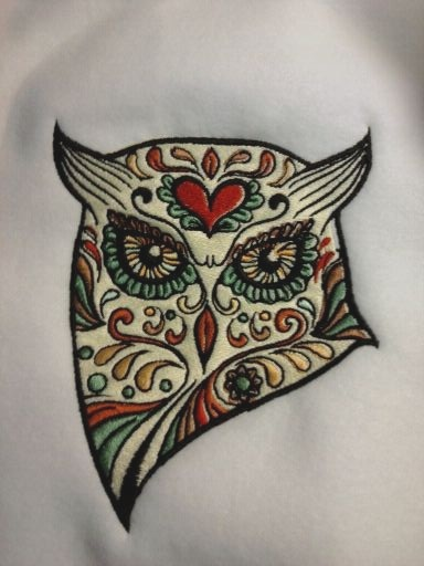 Sugar Skull Owl Machine Embroidery Design